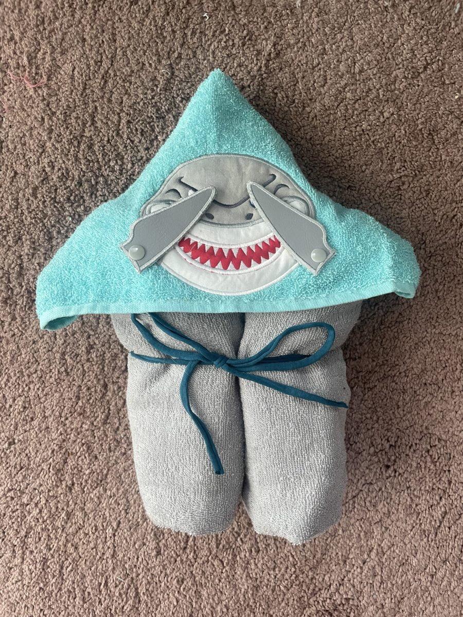 Grey shark hooded towel- nbspThe Crafty Me